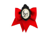 Skull Cameo Red Traditional Hair Bow Clip