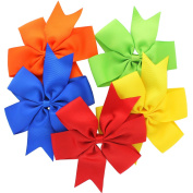 My Lello Large 13cm Girls Pinwheel Boutique Grosgrain Hair-Bow Mixed Variety 5 Pack Primary Colours