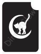 Cat in Crescent Moon 2031 Body Art Glitter Makeup Tattoo Stencil- 5 Pack