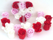 Valentine Rose Bath Bomb, Nine Colourful Charing Rose Flowers in a heart gift box. 3Red+3pink+3white, 9go