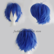 Anime Cosplay Unisex Short Straight Fluffy Full Wig Oblique Fringe with an Elastic Weaving Wig Cap for Free