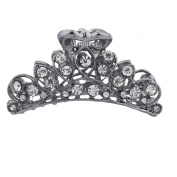 Lux Accessories Hematite Crystal Rhinestone Bling Filigree Metal Hair Claw Clip