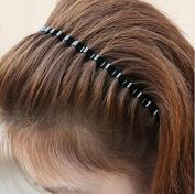 Top McKinley 5pcs Black Spring Wave Metal Hoop Hair Band Girl Men`s Head Band Accessory