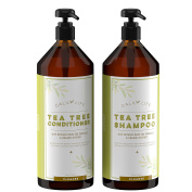 CalilyLife Organic Tea Tree Shampoo + Conditioner with Dead Sea Minerals, Duo Set, 1000ml Each – Concentrated Extra-strength Formula - Removes Impurities, Refreshes, Softens and Invigorates