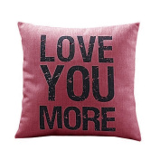 Ikevan® Love you More Cotton Linen Cushion Throw Pillow Covers Pillowslip Case(46cm x 46cm )