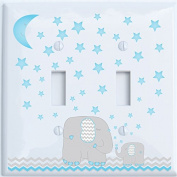 Blue Elephant Light Switch Plate Double Toggle with Blue Moon and Stars / Elephant Nursery Decor with Grey and Blue Chevrons.