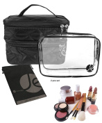 JAVOedge Quilted Double Layer ZipperTravel Storage Cosmetic, Makeup Organiser Bag W/Bonus Clear Transparent Zipper Bag