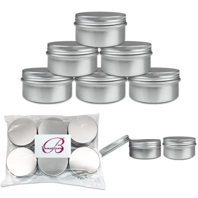 Beauticom (Quantity: 12 Pieces) 80G Refillable Silver Round Empty Aluminium Metal Tin Sample Jar Container with Screw Cap Lid for Candle, Beauty, Skincare, Cosmetics, Make Up, Balm, Salves