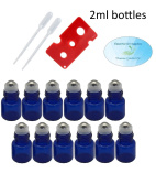 Essential Oil Cobalt Blue Glass 2ml Roller Bottles with Stainless Steel Balls (Pack of 12), Pipettes, and Essential Oil Bottle Opener
