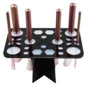 LEOKOR Makeup Brush Tree Holder Organiser Cosmetic Brush Dryer Air Drying Tower with 28 Mix Hole