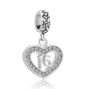 """CandyCharms Heart """"Number 16 Sixteen 16th Birthday Sweet Sixteen"""" Charm Bead For Bracelets"""