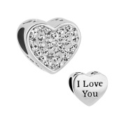 CandyCharms I Love You April Birthstone White Crystal Heart Love Beads For Charm Bracelets