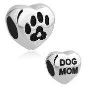 CandyCharms Dog Mom Charm Pet Paw Print Charm Beads For Bracelets