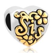 CandyCharms Heart Love Sis Sister Golden Flower Charm Beads For Bracelets