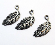 Set of Three (3) Silver Tone Pewter Feather Charms