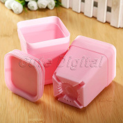 Pink 5 pcs Colourful Mini Square Plastic Plant Flower Pot Garden Planter Home Office Decor