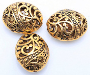 10pcs Antique Tibetan Gold Ellipse Shaped Hollow Spacer Oval Beads Handcrafts Finding Jewellery Making DIY
