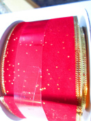 6.4cm x 9.1m red velour ribbon with metalic gold flecks and gold wire edge