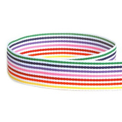 USA Made 2.2cm Rainbow Candy Striped Grosgrain Ribbon - 100 Yards