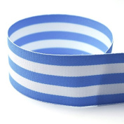 USA Made 1cm Light Blue & White Taffy Striped Grosgrain Ribbon - 20 Yards -