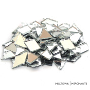 Milltown Merchants™ Mirrored Glass Cobbles - 1.4kg Reflective Stained Glass Value Pack - Broken Glass for Stepping Stones, Crafts, and Mosaic Making