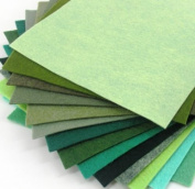 15 Greens 23cm x 30cm Merino Wool Blend Felt Sheets Collection - OTR felt