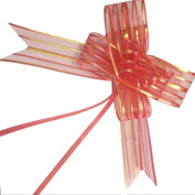 PETMALL 10pcs Organza Pull String Bows Wrap Ribbon for Wedding Party Home Decoration Red OFFICE-781