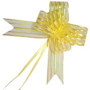 PETMALL 10pcs Organza Pull String Bows Wrap Ribbon for Wedding Party Home Decoration Yellow OFFICE-784