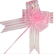 PETMALL 10pcs Organza Pull String Bows Wrap Ribbon for Wedding Party Home Decoration Pink OFFICE-782