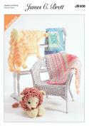James Brett Double Knit Crochet Pattern Star Blanket Granny Square & Cross Blankets DK