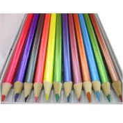 Schne  stationery UK) 12 Metallic Colour Pencils Set For All Type Of Art Work Artist Paintings Drawing Craft Artists Picture Kit Canvas Assorted Colours Kids Home School Office Tin Case