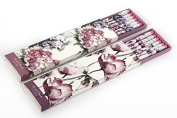 The Home Fusion Company 6 X Pencil Set Boxed Flowers Purple Pink Design Stationery Rubber Eraser Tops