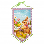 "Nantucket Home Purple ""Happy Easter"" Bunny and Chicks Pom Pom Coated Canvas Banner, 43cm"