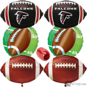 NFL Atlanta Falcons Football Super Bowl Mylar 6pc Balloon Pack, Red Black White