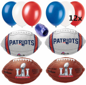 Super Bowl 51 New England Patriots Pack 32pc Balloon Pack, Red Blue Silver