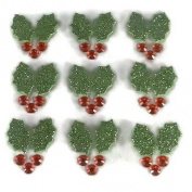 3d Christmas Glitter Holly Stickers