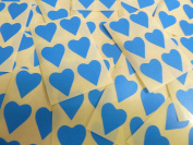 22x20mm Mid Blue Heart Shaped Labels, 90 Self-Adhesive Colour Code Stickers, Sticky Hearts for Craft and Decoration