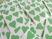 22x20mm Light Green Heart Shaped Labels, 90 Self-Adhesive Colour Code Stickers, Sticky Hearts for Craft and Decoration
