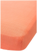Little Unicorn Cotton Muslin Fitted Sheet - Coral, Salmon