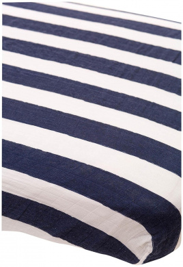 Little Unicorn Cotton Muslin Fitted Sheet - Navy Stripe