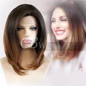Cbwigs Ombre Bob Brown Wigs Heat Resistant Synthetic Lace Front Wigs for Black Women 25cm PT2/27#
