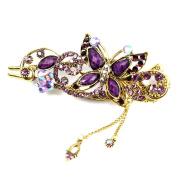 Beautiful Bead Butterfly Hair Clip Vintage Jewellery Rhinestones Hairpin Hair Beauty Tools Purple