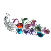 Beautiful Bead Crystal Rhinestones Peacock Barrette Hair Clips Decor Accessories Multicolor