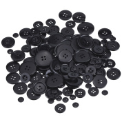 Shappy Black Buttons Resin Buttons Set Basic Button for Sewing, Scrapbooking and Craft Ornament, Assorted Size, Round, 160 Pieces
