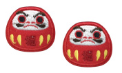 2 small pieces DARUMA DOLL Iron On Patch Applique Motif Fabric Japanese Oriental Prosperity Lucky Good Luck Fortune Symbol Decal 1.3 x 1.1 inches