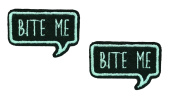 2 small pieces BITE ME Iron On Patch Fabric Applique Slogan Motif Words Wording Decal 1.8 x 1.2 inches