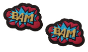 2 pieces BAM Iron On Patch Fabric Applique Motif Children Superhero Cartoon Decal 2.5 x 1.8 inches