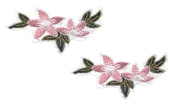 2 pieces PINK FLOWER Iron On Patch Fabric Applique Motif Children Decal 2.6 x 1.1 inches