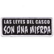 LAS LEVES DEL CASCO CHUPAN, High Thread Embroidered Iron-On / Saw-On, Heat Sealed Backing Rayon PATCH - 10cm x 5.1cm