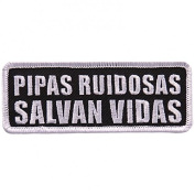 TUBERIAS LOUP SALVAR VIDAS, High Thread Embroidered Iron-On / Saw-On, Heat Sealed Backing Rayon PATCH - 10cm x 5.1cm